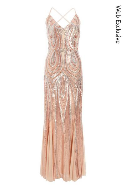 Nude Sequin Cross Back Maxi Dress